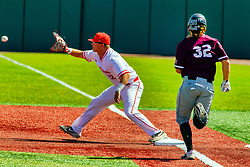 20 May 2019:  A put out throw comes in to Jack Butler ahead of runner Aiden McMahan. Missouri Valley Conference Baseball Tournament - Southern Illinois Salukis v Illinois State Redbirds at Duffy Bass Field in Normal IL<br /> <br /> #MVCSPORTS