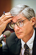 Treasury Secretary Robert Rubin during testimony in the House Banking Committee May 20, 1999 in Washington, DC.