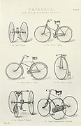 Various forms of early bicycle including  the Rover Safety, Singer Special Safety, King of Clubs (a penny farthing type), and Tricycles. From 'The National Encyclopaedia', London, 1880.