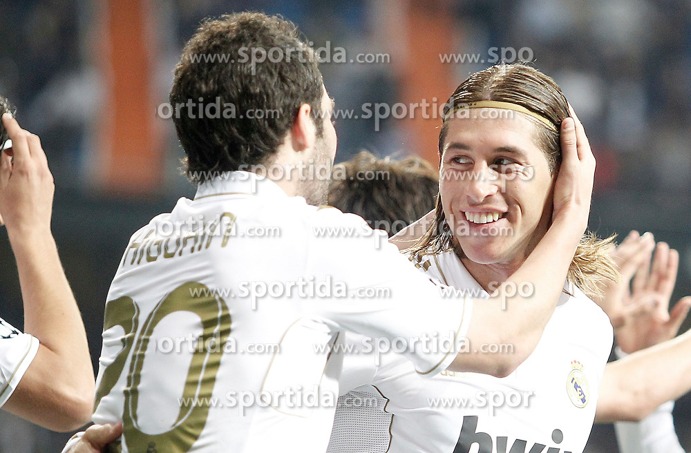 14.03.2012, Santiago Bernabeu Stadion, Madrid, ESP, UEFA CL, Achtelfinal-Rueckspiel, Real Madrid vs ZSKA Moskau, im Bild Real Madrid's Gonzalo Higuain celebrates with Sergio Ramos // during the UEFA Champions League round of 16 second leg Match between Real Madrid vs CSKA Moscow at the Estadio Santiago Bernabeu, Madrid, Spain on 2012/03/14. EXPA Pictures © 2012, PhotoCredit: EXPA/ Alterphotos/ Alvaro Hernandez..***** ATTENTION - OUT OF ESP and SUI *****