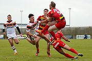 Bradford Bulls second row James Bentley (20) can't reach the kick ahead of Dewsbury Rams winger Gareth Potts (5)  during the Kingstone Press Championship match between Dewsbury Rams and Bradford Bulls at the Tetley's Stadium, Dewsbury, United Kingdom on 10 September 2017. Photo by Simon Davies.
