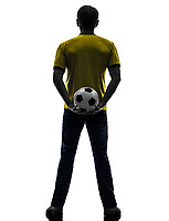 one  man holding soccer football silhouette rear view back in silhouette on white background