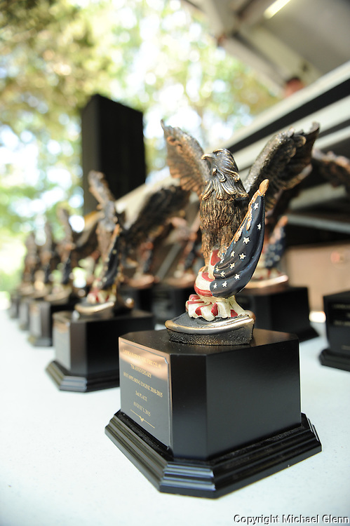 01 Aug. 2015 Lanoka Harbor USA // Awards are lined up at the LHFD 75th anniversary and housing of their new rescue  //  Michael Glenn / Glenn Images