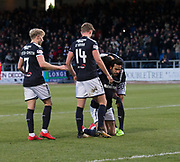 16th December 2017, Dens Park, Dundee, Scotland; Scottish Premier League football, Dundee versus Partick Thistle; Dundee's Sofien Moussa is congratulated after scoring