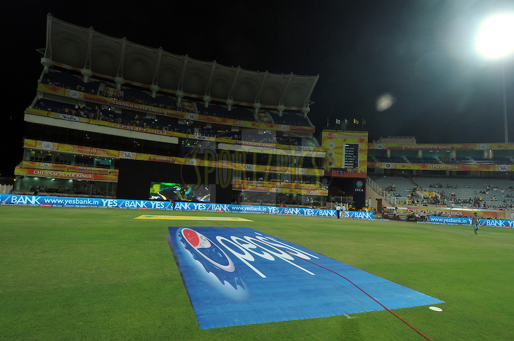 Pepsi logo on ground during match 21 of the Pepsi Indian Premier League Season 2014 between the Chennai Superkings and the Kolkata Knight Riders  held at the JSCA International Cricket Stadium, Ranch, India on the 2nd May  2014<br /> <br /> Photo by Arjun Panwar / IPL / SPORTZPICS<br /> <br /> <br /> <br /> Image use subject to terms and conditions which can be found here:  http://sportzpics.photoshelter.com/gallery/Pepsi-IPL-Image-terms-and-conditions/G00004VW1IVJ.gB0/C0000TScjhBM6ikg