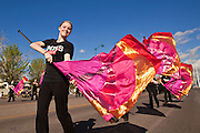 16 JANUARY 2012 - MESA, AZ:  The flag team from Red Mountain High School, in Mesa, AZ, marches in the parade on Martin Luther King Day in Mesa, AZ, Monday, Jan. 16. Hundreds of people participated in the parade which marched through downtown Mesa.   PHOTO BY JACK KURTZ