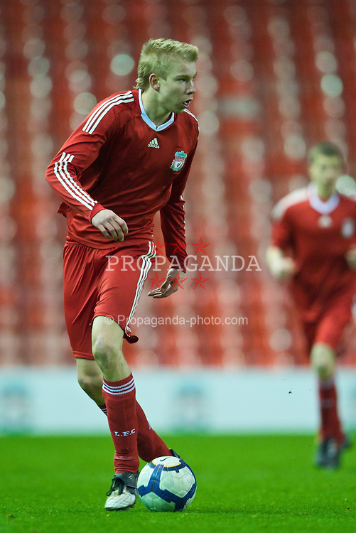 LIVERPOOL, ENGLAND - Monday, February 8, 2010: Liverpool's Kristjan Emilsson in action against Watford during the FA Youth Cup 5th Round match at Anfield. (Pic by David Rawcliffe/Propaganda)