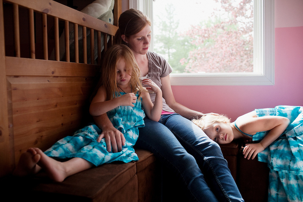 Karen Kudro and her daughters, Hayley, 6 (R), and Aubrey, 4 (L), in Waynesboro, Virginia on Wednesday, June 15, 2011. Hayley, then 5, was diagnosed with a softball-sized mass near her liver that turned out to be neuroblastoma in September of 2009.