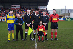 CAPTAINS OFFICIALS MASCOT LINE UP KETTERING TOWN, Kettering Town v Kings Lynn Rockingham Road, 16th March 2002