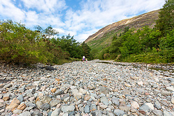 © Licensed to London News Pictures. 08/07/2018. Wasdale Head UK. A stream that run's from Scafell Pike, England highest mountain down to Wast water lake in Cumbria has run almost completely dry as the Uk heatwave continues through the weekend. Photo credit: Andrew McCaren/LNP