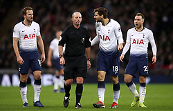 Tottenham Hotspur's Fernando Llorente appeals to match referee Mike Dean
