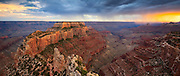 Wotan's Throne reaches into the Grand Canyon as monsoon storms rain on the South Rim.
