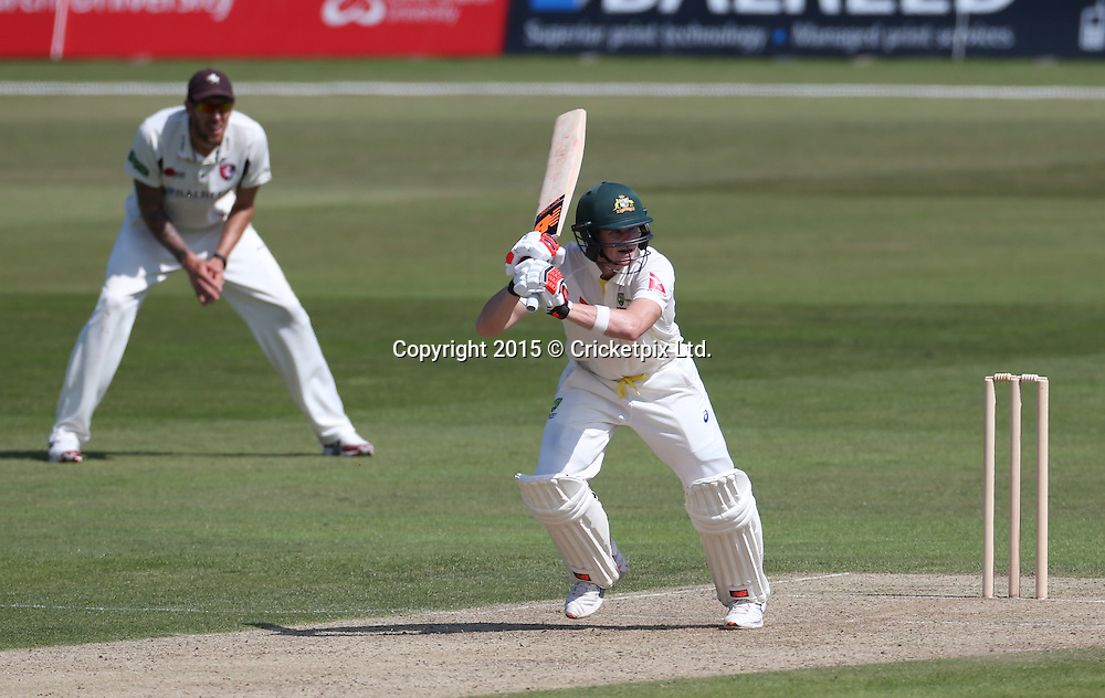 Steve Smith bats during the four day warm-up match between Kent and the Australian Xl at the St. Lawrence Ground, Canterbury. Photo: Graham Morris/www.cricketpix.com (Tel: +44 (0)20 8969 4192; Email: graham@cricketpix.com) 25062015