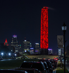 November 2, 2018 - Kansas City, MO, USA - More than 5,000 poppies are projected on the World War I Memorial on Friday, Nov. 2, 2018, in Kansas City, Mo. The Peace and Remembrance Illumination Display begins nightly through November 11th to commemorate the 100th anniversary of Armistice Day. (Credit Image: © John Sleezer/Kansas City Star/TNS via ZUMA Wire)