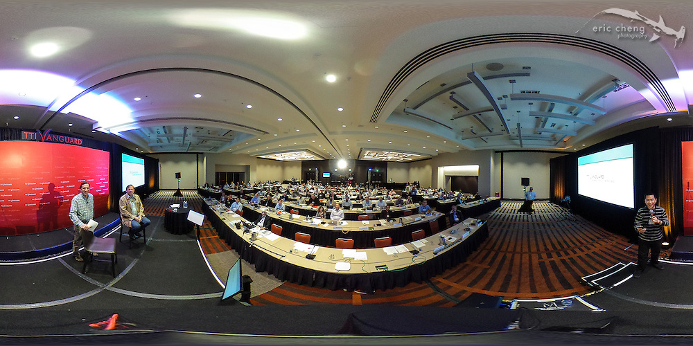 360 / spherical image of John Markoff and Michael Hawley on stage at TTI/Vanguard [next] 2015 conference, Grand Hyatt in San Francisco