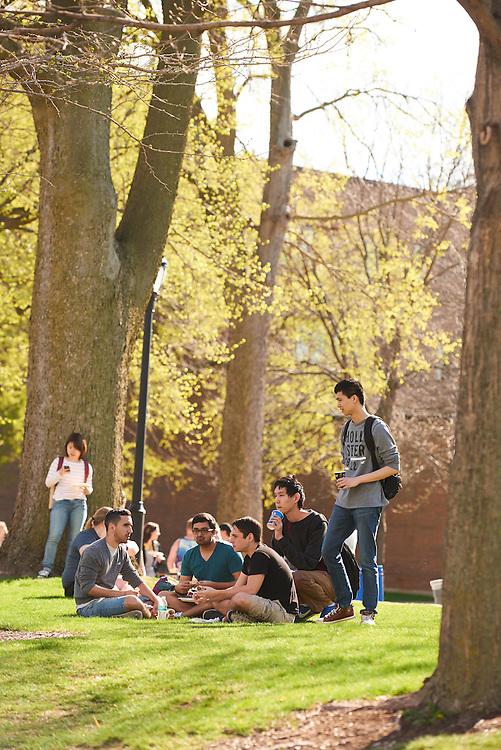 People; Student Students; Diversity; Activity; Eating; Drake Field; Location; Outside; Socializing; Time/Weather; day; Type of Photography; Candid; UWL UW-L UW-La Crosse University of Wisconsin-La Crosse; Spring; April
