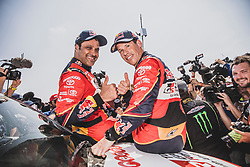 Nasser Al-Attiyah (QAT) and Matthieu Baumel (FRA) of Toyota Gazoo Racing SA at the finish line after the last stage of Rally Dakar 2019 from Pisco to Lima, Peru on January 17, 2019. // Flavien Duhamel/Red Bull Content Pool // AP-1Y5HCEWRH2111 // Usage for editorial use only // Please go to www.redbullcontentpool.com for further information. //