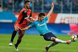 August 3, 2017 - Saint Petersburg, Russia - Paz Ben Ari (L) of FC Bnei Yehuda and Denis Terentyev of FC Zenit Saint Petersburg vie for the ball during the UEFA Europa League match, Third Qualifying Round, 2nd Leg between FC Zenit St. Petersburg and FC Bnei Yehuda at Saint Petersburg Stadium on August 03, 2017 in St. Petersburg, Russia. (Credit Image: © Igor Russak/NurPhoto via ZUMA Press)