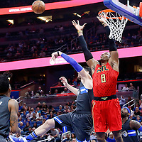 25 February 2017: Atlanta Hawks center Dwight Howard (8) goes for the alley-oop during the Orlando Magic 105-86 victory over the Atlanta Hawks, at the Amway Center, Orlando, Florida, USA.