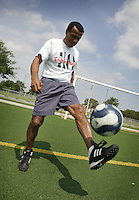 "Peuvian former soccer champion, Teofilo Cubillas, nicknamed ""El Nene Cubillas"", plays with the ball at Coral Spring City Park on Wednesday June 24, 2009.  Staff photo/Cristobal Herrera.."