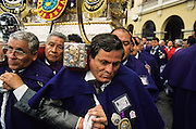 "Lima: ?Señor de los Milagros?  (Lord of the Miracles) the Perù's most solemn procession. The traditional ""cofradias"" of penitents  dressed in purple, a privilege, often passed down from father to son, to load on the shoulders the heavy statue of the Lord of the Miracles."
