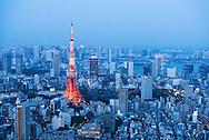 Tokyo city at night with red Tokyo Tower and Minato district.