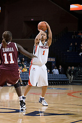 UVA's Lyndra Littles (1) squares up for a shot against VT's Nare Diawara (11).  The Virginia Tech Hokies overcame a 14 point Virginia lead to beat the Cavaliers 60-58 on their home court at the John Paul Jones Arena in Charlottesville, VA.