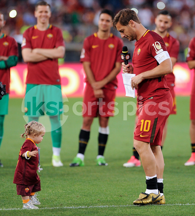Francesco Totti of Roma on his last appearance in Rome after more than 20 years gives a speach during the Serie A match between Roma and Genoa at Stadio Olimpico, Rome, Italy on 28 May 2017. Photo by Giuseppe Maffia.