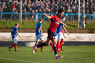 Dundee&rsquo;s Sofien Moussa celebrates after scoring after completing his hat-trick - Cowdenbeath v Dundee in the Betfred Cup at Central Park, Cowdenbeath - Picture by David Young<br /> <br />  - &copy; David Young - www.davidyoungphoto.co.uk - email: davidyoungphoto@gmail.com