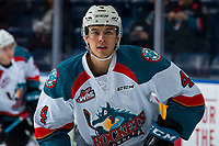 KELOWNA, CANADA - JANUARY 30: Devin Steffler #4 of the Kelowna Rockets warms up against the Seattle Thunderbirds  on January 30, 2019 at Prospera Place in Kelowna, British Columbia, Canada.  (Photo by Marissa Baecker/Shoot the Breeze)