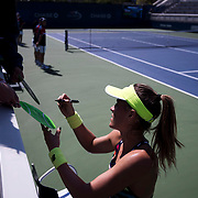 August 30, 2017 - New York, NY : Nicole Gibbs signs autographs after defeating Veronica Cepede Royg (not visible) on the third day of the U.S. Open, at the USTA Billie Jean King National Tennis Center in Queens, New York, on Wednesday. <br /> CREDIT : Karsten Moran for The New York Times