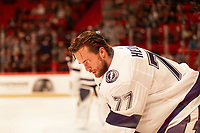 2019-11-08 | Stockholm, Sweden : Tampas Victor Hedman (77) during the warmup at the NHL Global series at Globe Arena (Photo by : Daniel Carlstedt | Swe Press Photo (35) during the<br /> NHL Global Series at Globe Arena (Photo by : Daniel Carlstedt | Swe Press Photo