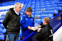 Former Tranmere player Steve Yates signs an aotograph - Photo mandatory by-line: Neil Brookman/JMP - Mobile: 07966 386802 - 08/11/2014 - SPORT - Football - Birkenhead - Prenton Park - Tranmere Rovers v Bristol Rovers - FA Cup - Round One