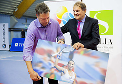 Zoran Kofol with Trophy of best player Polona Hercog and Mark Umberger at Tennis exhibition day and Slovenian Tennis personality of the year 2013 annual awards presented by Slovene Tennis Association TZS, on December 21, 2013 in BTC City, TC Millenium, Ljubljana, Slovenia.  Photo by Vid Ponikvar / Sportida