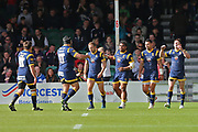 Worcester Warriors Chris Pennell  Full back (15) celebrates crucial try in the second half  during the Aviva Premiership match between Worcester Warriors and Bath Rugby at Sixways Stadium, Worcester, United Kingdom on 15 April 2017. Photo by Gary Learmonth.