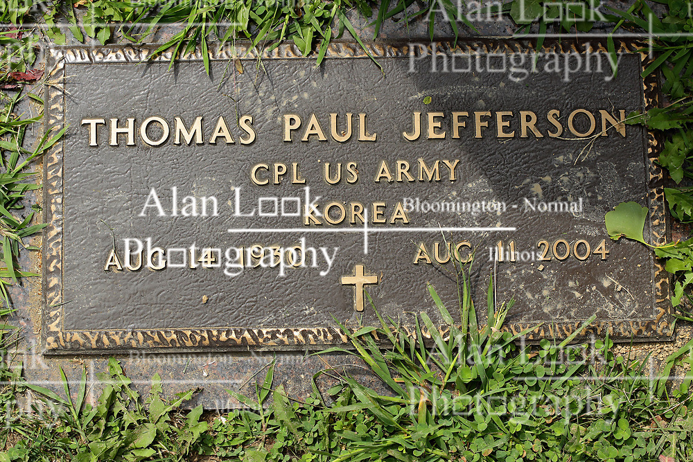 31 August 2017:   Veterans graves in Park Hill Cemetery in eastern McLean County.<br /> <br /> Thomas Paul Jefferson Corporal US Army Korea Aug 14 1930 Aug 11 2004