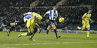 Photo: Aidan Ellis.<br /> Sheffield Wednesday v Cardiff City. Coca Cola Championship. 09/11/2005.<br /> Cardifff's Cameron Jerome hits the post for the second time with this diving header