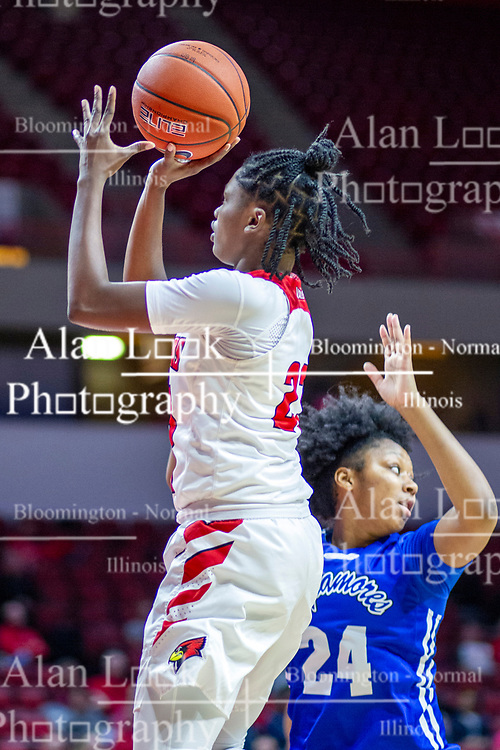 NORMAL, IL - January 03: Juliunn Redmond inside of Jasmine Elder during a college women's basketball game between the ISU Redbirds and the Sycamores of Indiana State January 03 2020 at Redbird Arena in Normal, IL. (Photo by Alan Look)