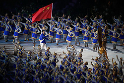 JAKARTA, Aug. 18, 2018  Zhao Shuai, flag bearer of Chinese delegation, enters the Gelora Bung Karno (GBK) Main Stadium at the opening ceremony of the 18th Asian Games in Jakarta, Indonesia, Aug. 18, 2018. (Credit Image: © Wang Lili/Xinhua via ZUMA Wire)