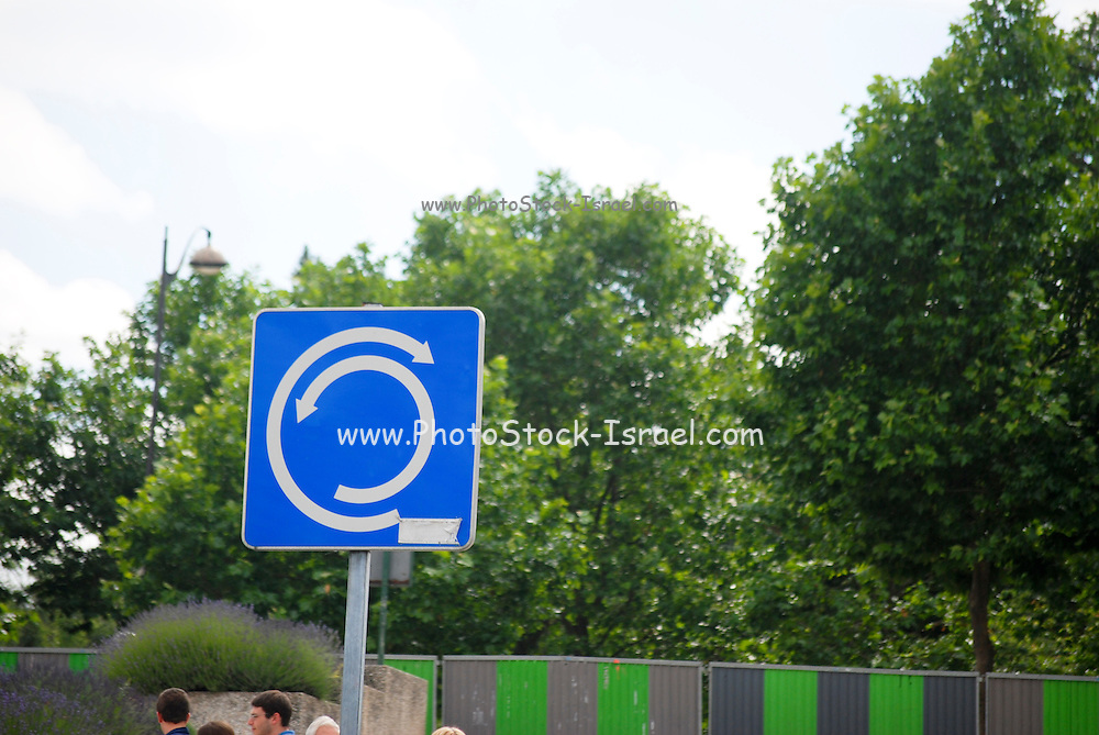 France, Paris, Traffic sign roundabout