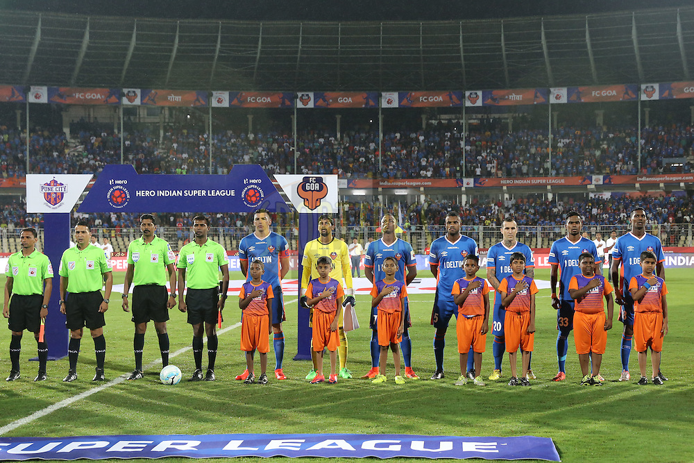FC Goa players stand for national anthem during match 8 of the Indian Super League (ISL) season 3 between FC Goa and FC Pune City held at the Fatorda Stadium in Goa, India on the 8th October 2016.<br /> <br /> Photo by Faheem Hussain / ISL/ SPORTZPICS