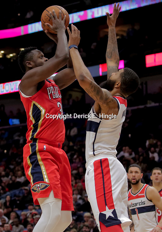 Nov 28, 2018; New Orleans, LA, USA; New Orleans Pelicans forward Julius Randle (30) shoots over Washington Wizards forward Markieff Morris (5) during the fourth quarter at the Smoothie King Center. Mandatory Credit: Derick E. Hingle-USA TODAY Sports