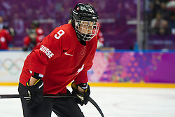 20.02.2014, Bolshoy Ice Dome, Adler, RUS, Sochi, 2014, Eishockey Damen, Spiel um die Bronzemedaille, im Bild Stefanie Marty (SUI) // during Womens Icehockey Match for Bronze Medal of the Olympic Winter Games Sochi 2014 at the Bolshoy Ice Dome in Adler, Russia on 2014/02/20. EXPA Pictures © 2014, PhotoCredit: EXPA/ Freshfocus/ Urs Lindt<br /> <br /> *****ATTENTION - for AUT, SLO, CRO, SRB, BIH, MAZ only*****