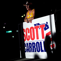 TAMPA, FL -- October 25, 2010 -- Curt barnes of Palm Harbor waits for Republican candidate for governor Rick Scott at a post-debate rally in Tampa, Fla., on Monday, September 25, 2010.  Scott was kicking off his final week of campaigning in the heated race for Florida Governor against Democrat Alex Sink.