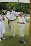 Hugo Burnand and Fergus Burnand, Guy Leymarie and Tara Getty host The De Beers Cricket Match. The Lashings Team versus the Old English team. Wormsley. ONE TIME USE ONLY - DO NOT ARCHIVE  © Copyright Photograph by Dafydd Jones 66 Stockwell Park Rd. London SW9 0DA Tel 020 7733 0108 www.dafjones.com