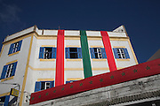Buildings draped with national colours during visit of the king, Essaouira, Morocco