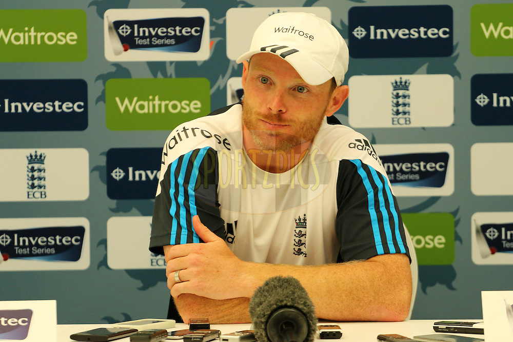 Ian Bell of England addresses the media during day two of the third Investec Test Match between England and India held at The Ageas Bowl cricket ground in Southampton, England on the 28th July 2014<br /> <br /> Photo by Ron Gaunt / SPORTZPICS/ BCCI
