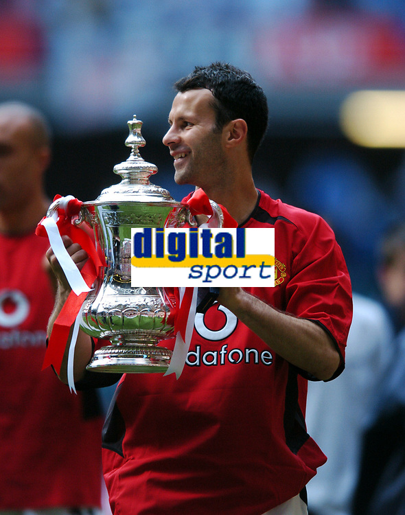 Ryan Giggs Manchester United celebrates with the FA Cup<br />Manchester United v Millwall F/A Cup Final 22/05/04<br />Photo Robin Parker Fotosports International