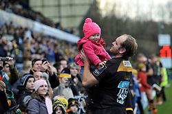 Andy Goode of Wasps with his daughter after the match - Photo mandatory by-line: Patrick Khachfe/JMP - Mobile: 07966 386802 14/12/2014 - SPORT - RUGBY UNION - High Wycombe - Adams Park - Wasps v Castres Olympique - European Rugby Champions Cup