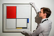 "Piet Mondrian (1872-1944), Composition No.III (Composition with Red, Blue, Yellow and Black), 1929 (est: $15-25million) - Preview of almost fifty works from Christie's spring sales in New York of Impressionist, Modern, Post-War And Contemporary Art. The most expensive work is Les femmes d'Alger (Version ""O""), 1955, by Pablo Picasso (1881-1973), estimate $140million. Other highlights include: Pablo Picasso (1881-1973), Femme à la résille, 1938 (est $55 million); Mark Rothko (1903 -1970), No. 36 (Black Stripe), 1958 (est: $30-50 million); Andy Warhol (1928-1987), Colored Mona Lisa, 1963 (est $40 million); Claude Monet (1840-1926), Le Parlement, soleil couchant, 1902 (est: $35-45 million); Jean Dubuffet, Paris Polka, 1961 (est $25 million); Piet Mondrian (1872-1944), Composition No.III (Composition with Red, Blue, Yellow and Black), 1929 (est: $15-25million); and Amedeo Modigliani (1884-1920), Portrait de Béatrice Hastings, 1916 (est $7-10million) from the Collection of John C. Whitehead. The works will be on view to the public from 11 to 16 April at Christie's King Street, London."